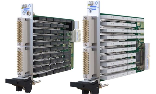 New PXI/PXIe 5 Amp Power Relay Modules from Pickering Interfaces  offer twice the switching density